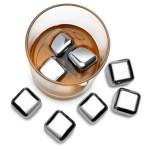 Whisky Ice Cubes Set - 4 wiederverwendbare Edelstahl Eiswürfel + Stoffbeutel