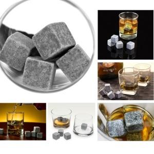Grenhaven 9er SET Whisky-Steine aus natürlichem Speckstein- Kühlsteine mit praktischen Stoffbeutel